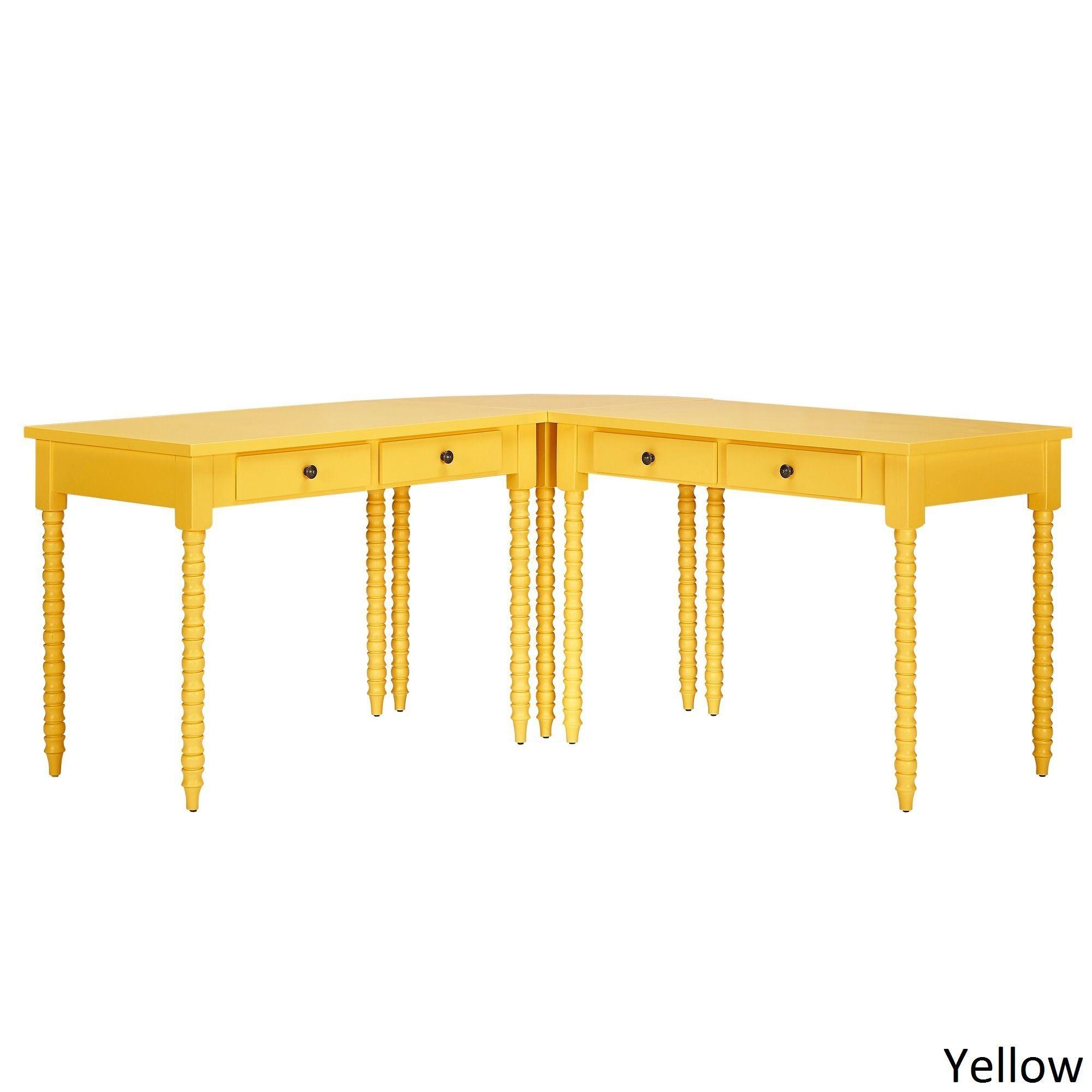Lyndale L-Shaped Helix Legs Corner Office Desk by Inspire Q (Yellow Desk)