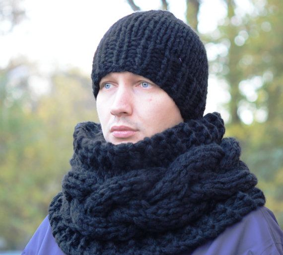 Hand Knitted Infinity Scarf / Chunky Scarf / Men's Knitted