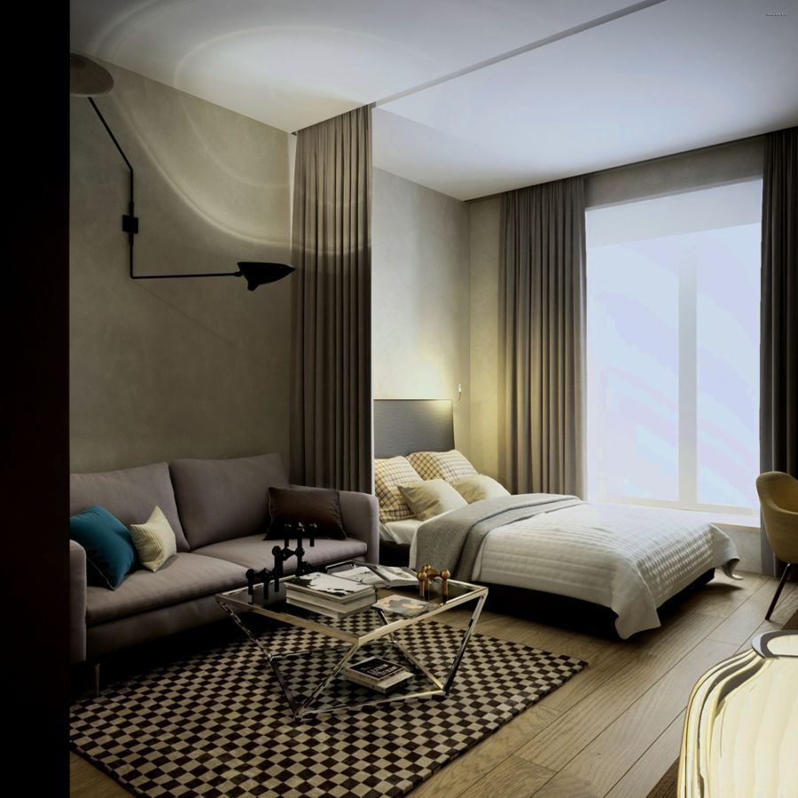 Cortina de veludo para separar o quarto em um studio for Cortinas para departamentos pequenos