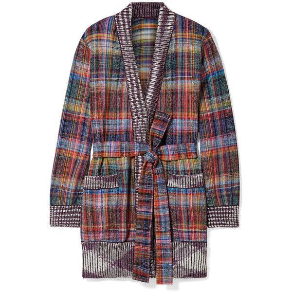 Very Cheap Belted Plaid Cotton-blend Flannel Cardigan - Purple Missoni Cheap Great Deals Choice amvq8L