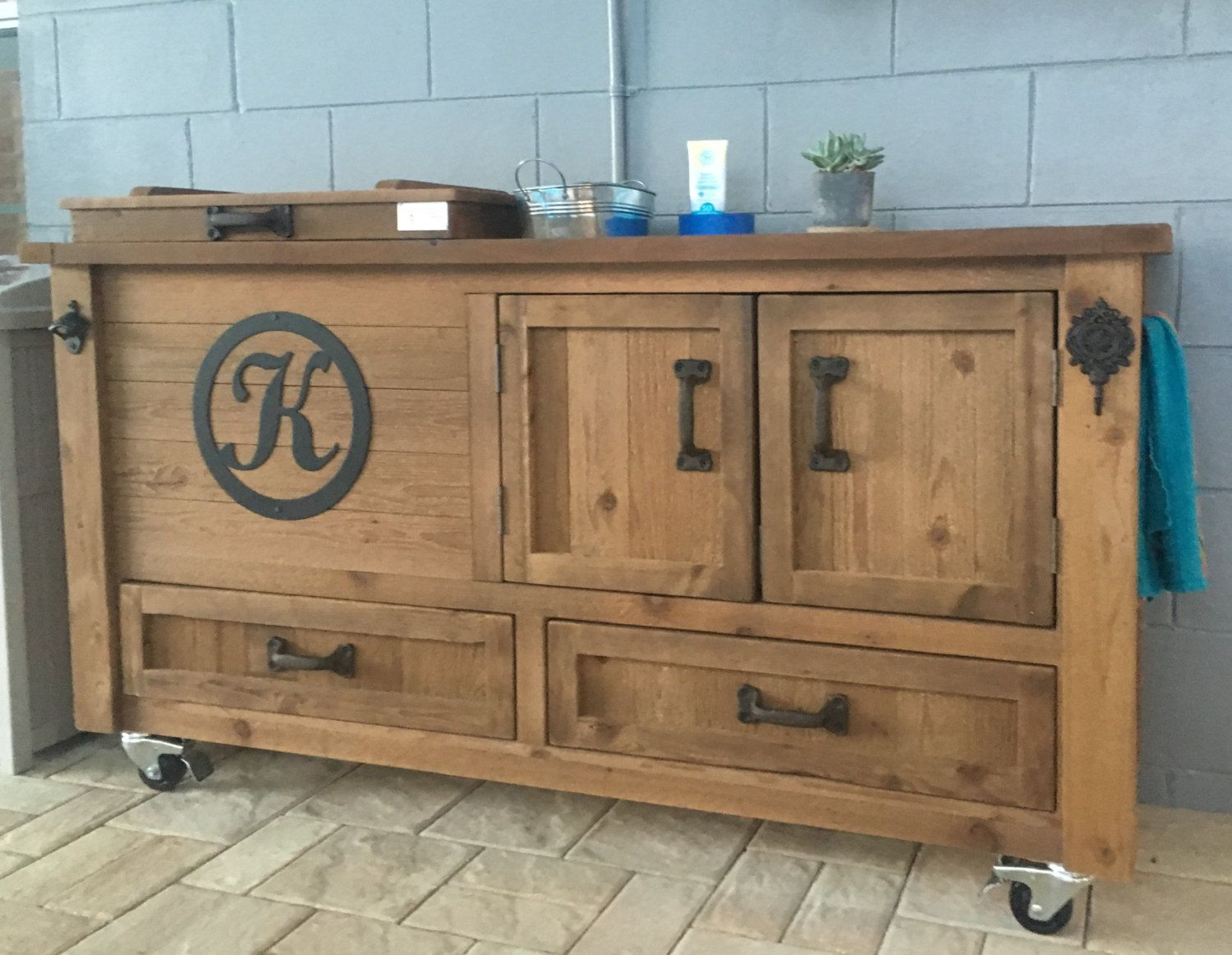 Custom Outdoor Cabinet, Rustic Cooler Bar Cart, Grilling ...