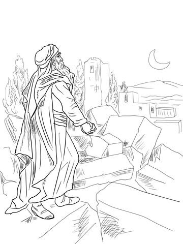 Nehemiah Observing Broken Walls Of Jerusalem Coloring Page