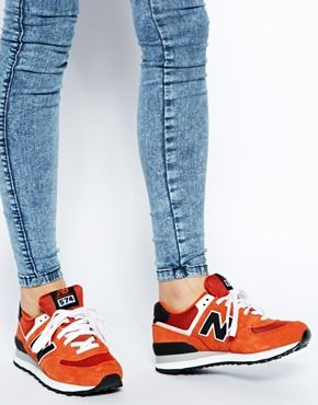 new balance 574 trainers orange