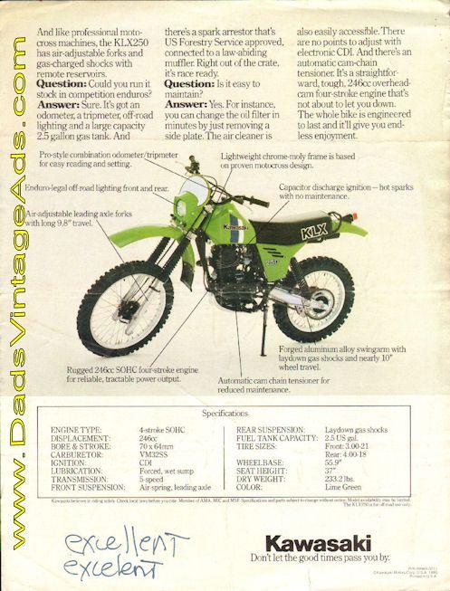 1980 Kawasaki KLX250 Questions & Answers FAQ / Photos/ Specs ...