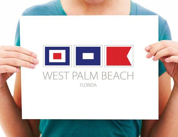 West Palm Beach Florida Nautical Flag Art By Nauticalflagshop