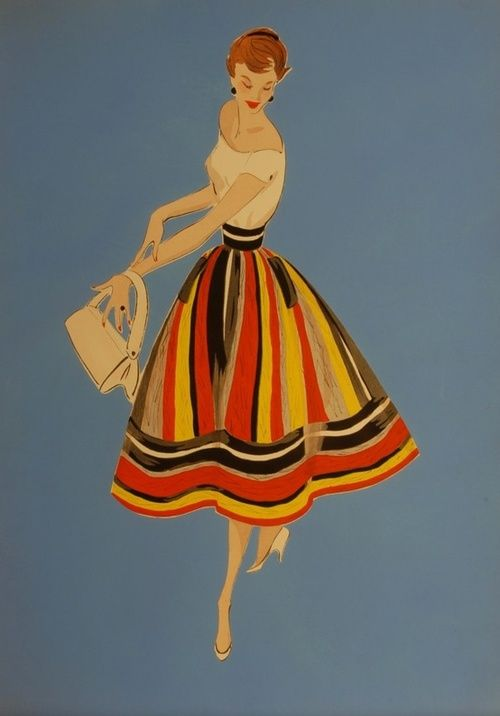 1950s fashion illustration: Margot and Daphne would approve!  (I love the bold skirts and white top.)