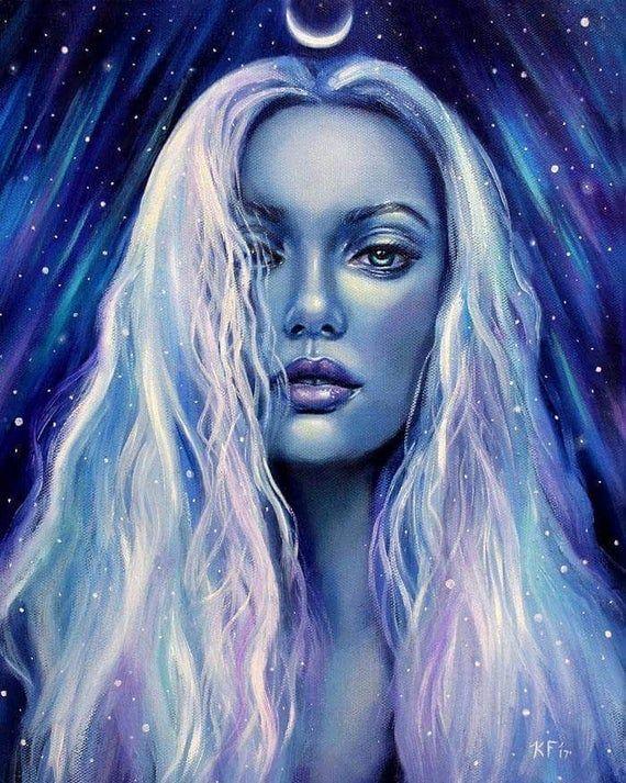 Moon Goddess Art Lyra pagan art print celestial | Etsy