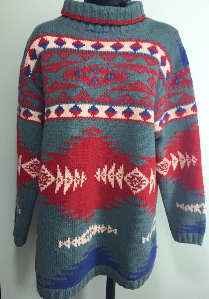 de03600de18d Ralph Lauren Country Indian Blanket Sweater. Aztec or Navajo style pattern.  Turtleneck