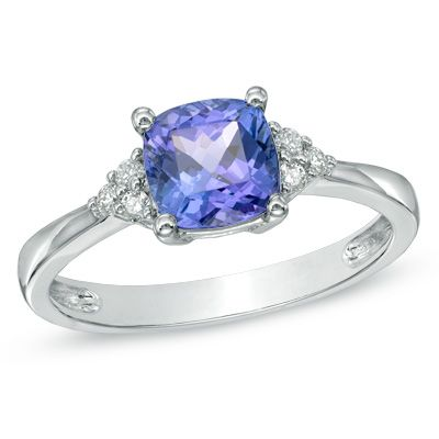 6.5mm Cushion-Cut Tanzanite and Diamond Accent Ring in 10K White Gold