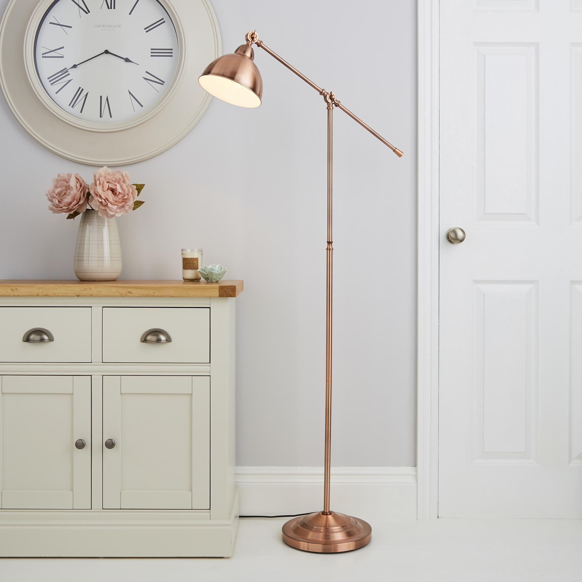 Lever Arm Copper Floor Lamp in 2020   Black floor lamp