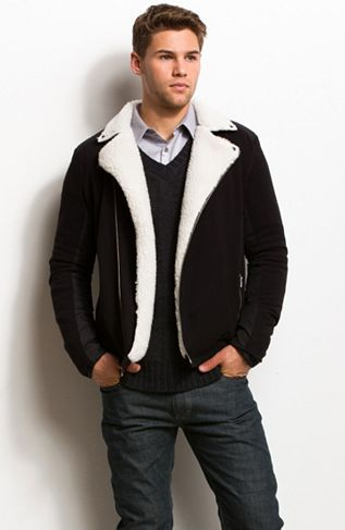 Faux Shearling Biker Jacket - Knit Tops - Mens - Armani Exchange