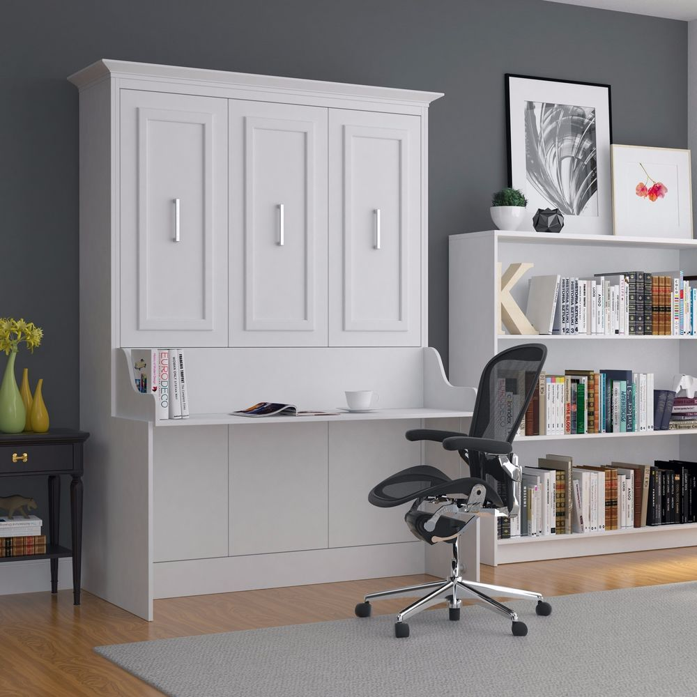 Leto Muro Wall Bed With Desk White Lacquer Wood Space Saving