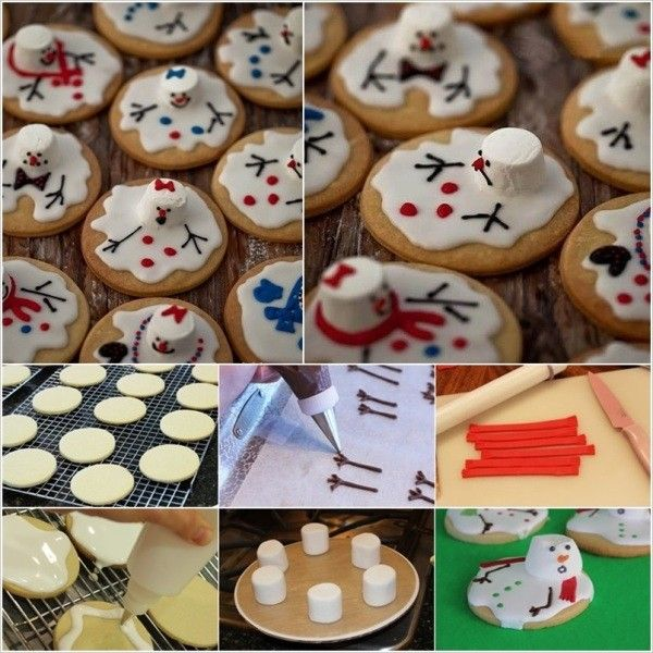 Melting Snowman Marshmallow Christmas Melted Snowman Cookies