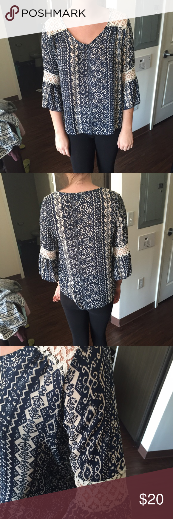 NWOT Chiffon lace top NWOT Blue and white print chiffon top with lace detailing on the sleeves and neck! Great piece for fall! Tops Blouses