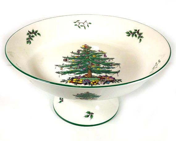 """Vintage Spode """"Christmas Tree"""" - Footed Centerpiece Bowl, Made in England (With images)   Spode ..."""