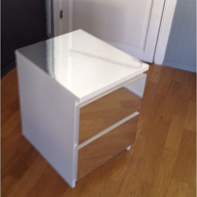A diy Malm dresser nightstand from Ikea with mirror foil Easy
