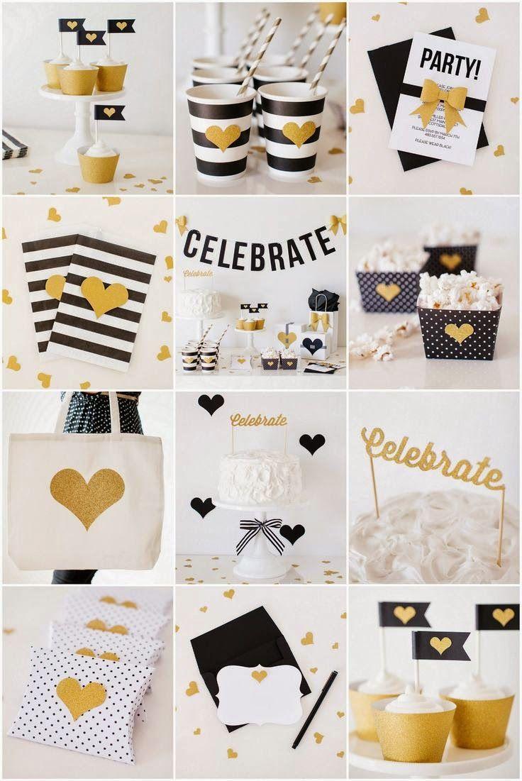 Gold Themed Party Decoracoes De Festa Pretas Aniversario