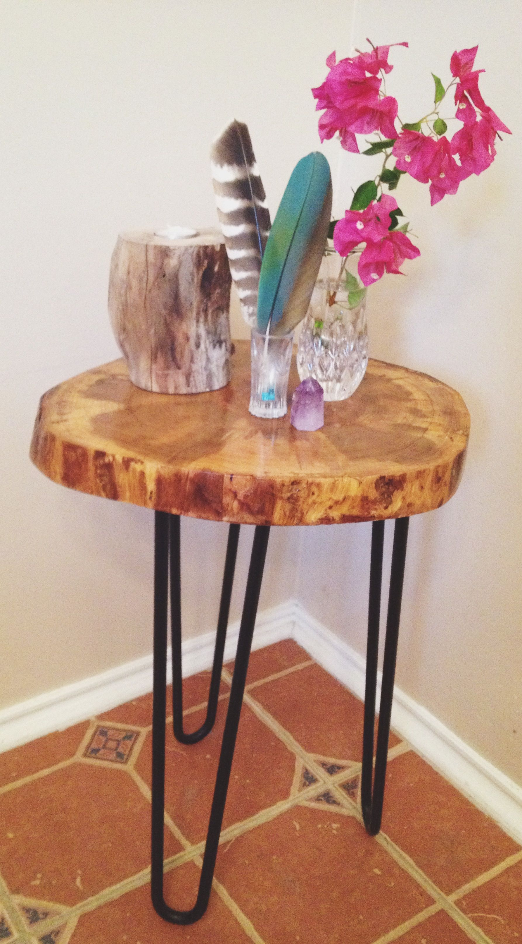 Handmade Wood Slice End table made by Nature Bound 100 year old
