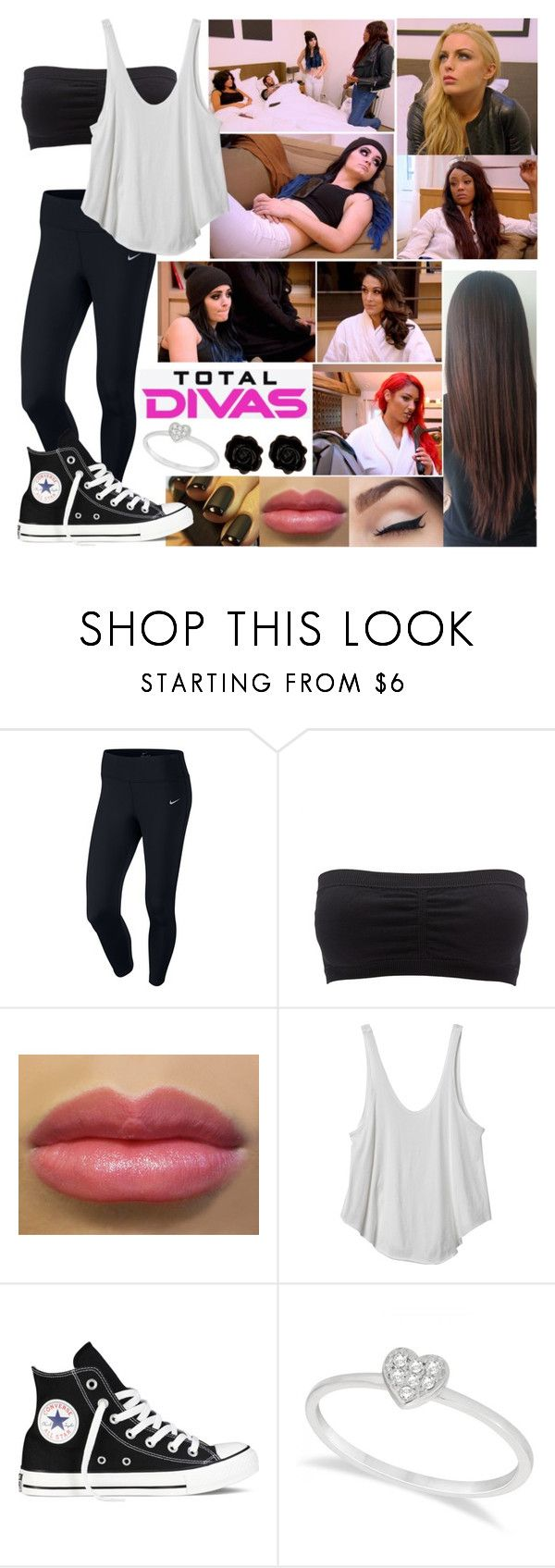 """Total Divas: Miscommunication"" by samantha-vance ❤ liked on Polyvore featuring NIKE, Charlotte Russe, RVCA, Converse, Allurez and Fornash"