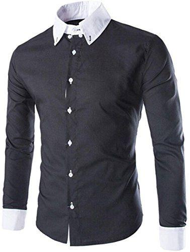 #jeansian #Herren Freizeit Hemden #Shirt Tops Mode Langarmshirts Slim Fit  8750 Black L