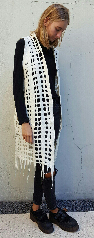 Chaleco trama fieltro artesanal, 100% lana merino, Amalana felt Argentina