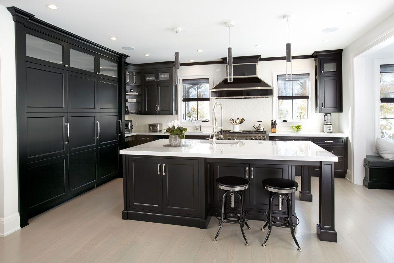 Manhasset Kitchen In Black From The Ken Kelly Signature Collection Kitchen Kitchen Design Custom Kitchen Cabinets