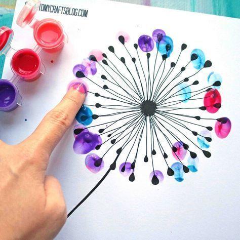 Fingerabdruck Löwenzahn Kid Craft w kostenlos druckbare Kunst Handwerk