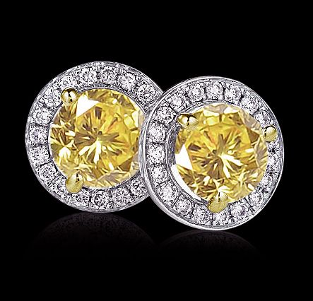 Stud Earrings Yellow Canary Diamond Studs
