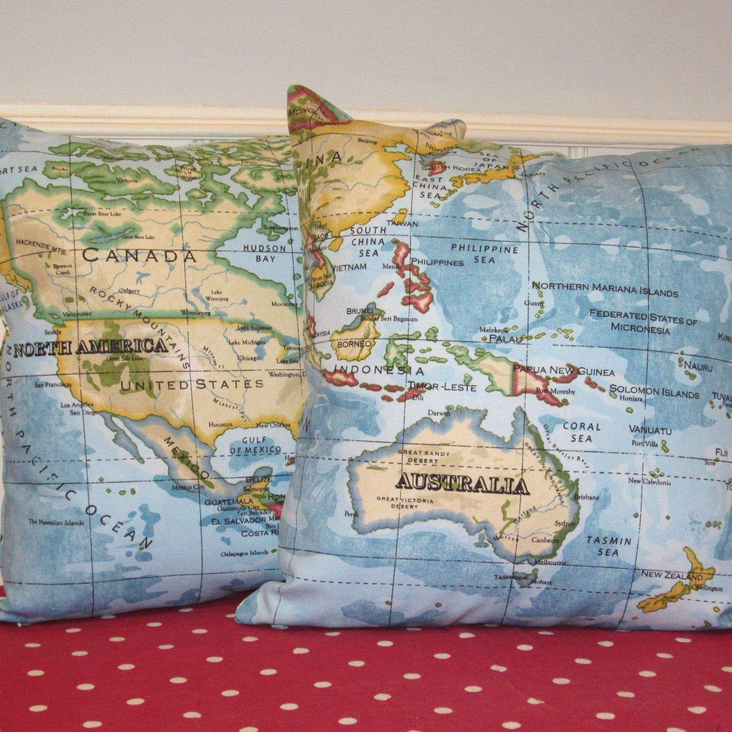 Set of two pillow cushion covers atlas world map print blue on two world map print pillows cushion covers blue atlas fabric on front and back 16 x 16 inch sciox Gallery