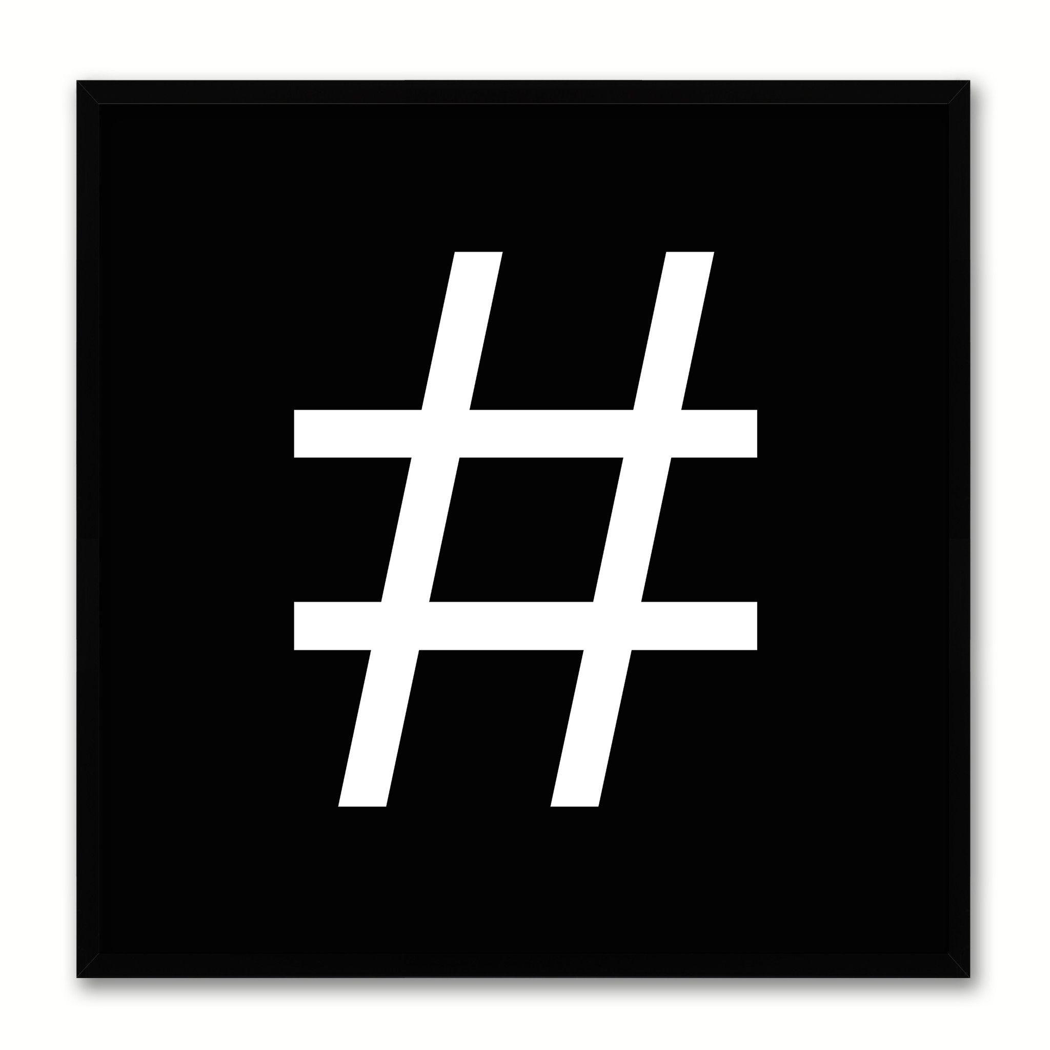 Hashtag Social Media Icon Canvas Print Picture Frame Wall Art Home Decor