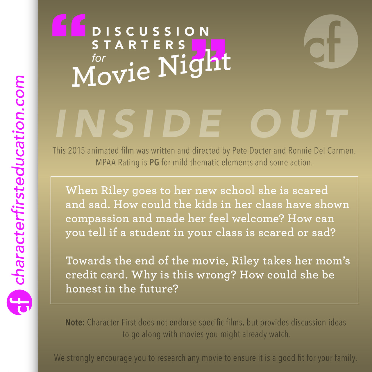 Challenge your children to think during your next movie night! Here are some questions to give you some ideas.
