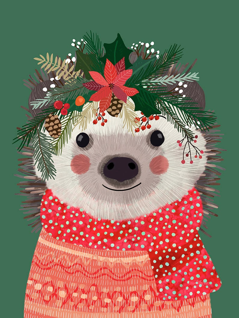 Christmas Hedgehog With Floral Crown Art Print Funny Etsy Christmas Illustration Christmas Paintings Christmas Drawing