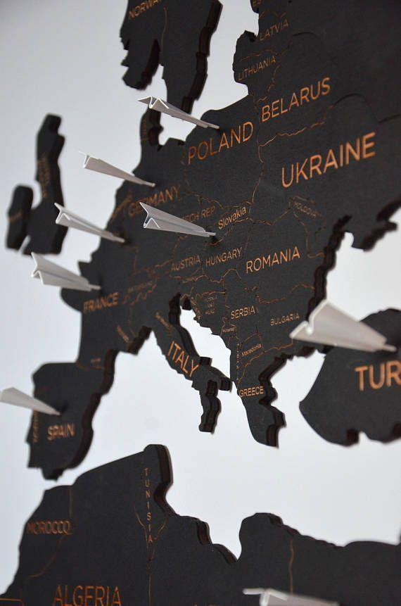 Reiseweltkarte aus Holz Pin Map World Wall Home Art Wanderlust   - Zimmer deko ideen -