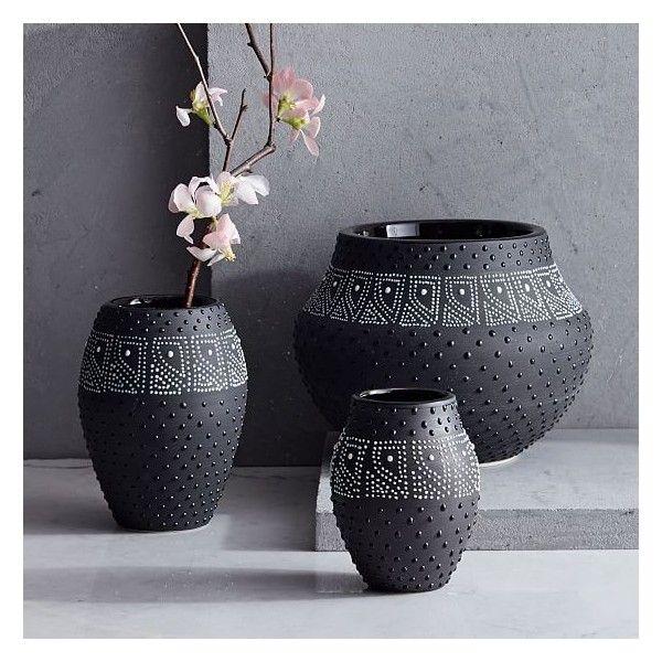 West Elm Black White Dot Vase Small 18 Liked On Polyvore
