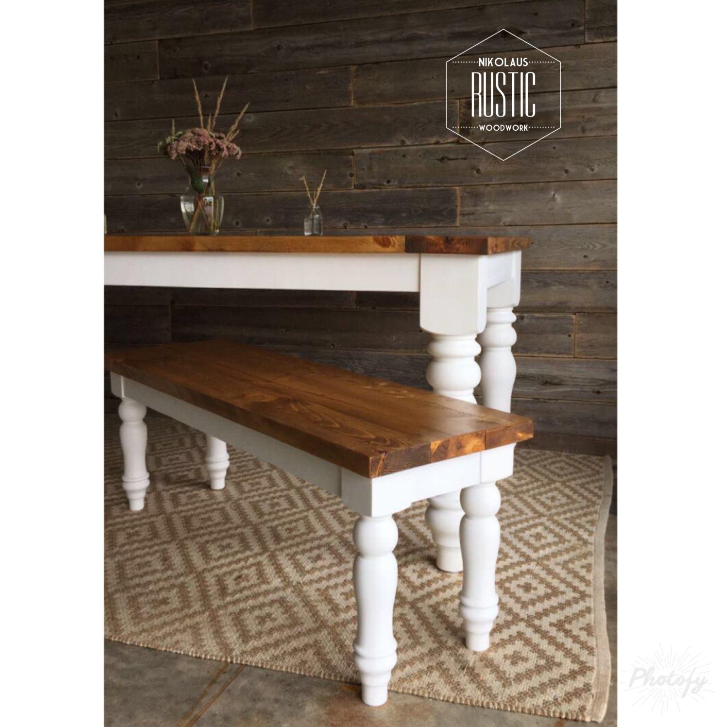 custom farmhouse table two tone pedestal legs