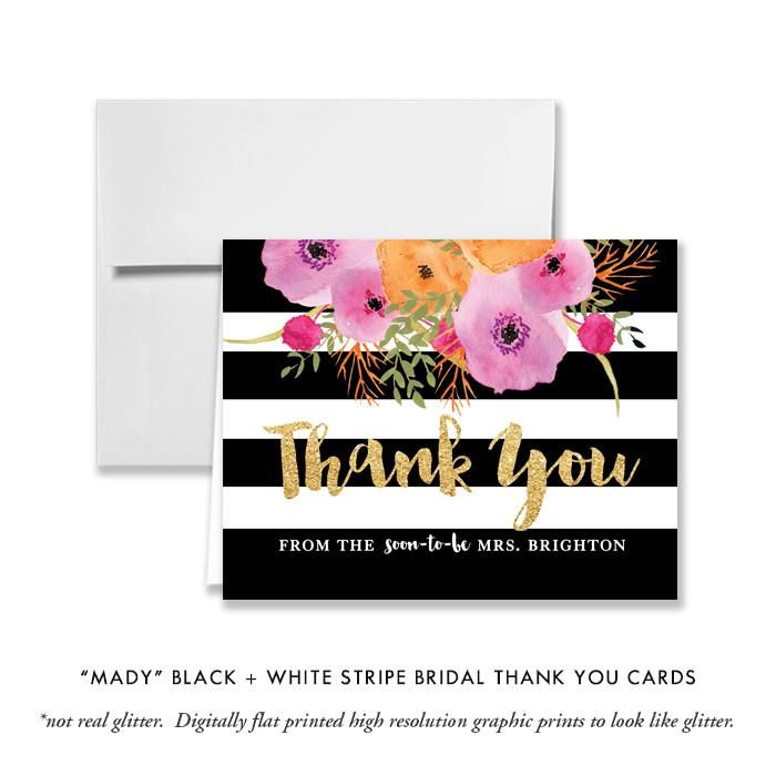 Black Champagne Personalized Wedding Thank You Cards