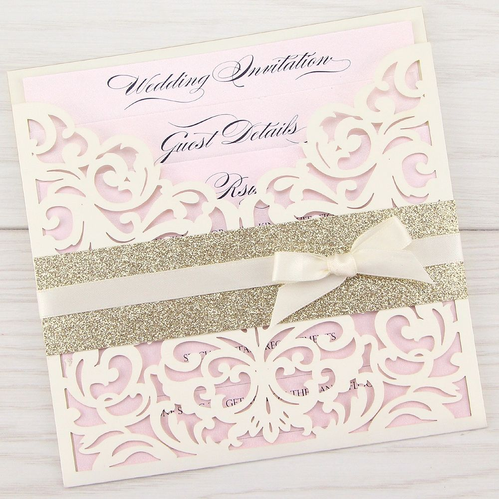 how to emboss wedding invitations diy%0A DIY or Handmade  our Ruby with Glitter and Bow is the perfect accompaniment  to your