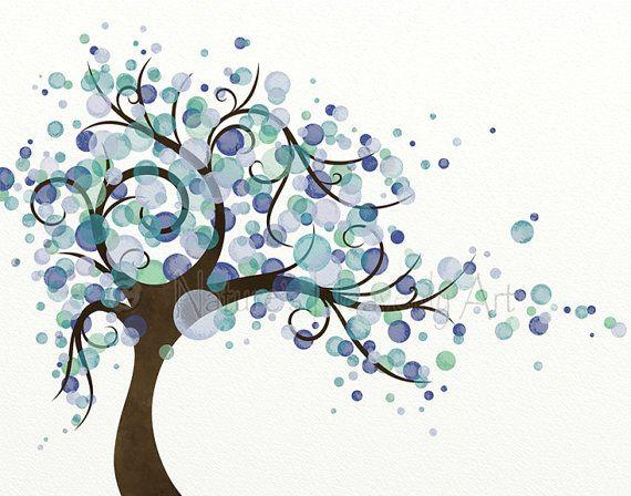 Me hizo este arte maravilloso árbol en tonos azules, morados y ...