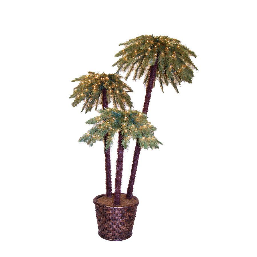 Shop 6 Ft Potted Potted Caribbean Palms Pre Lit Artificial