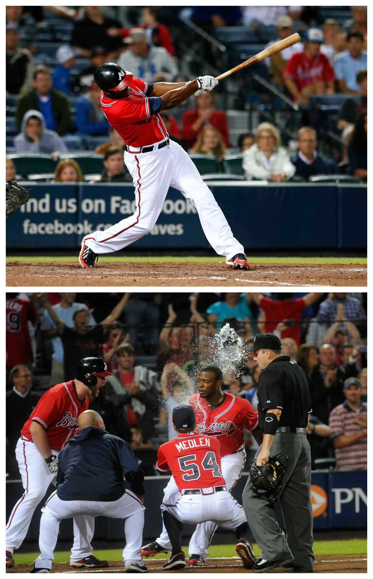 Justin Upton Slams A Home Run In Extra Innings To Lead The Braves To Victory Over The Nationals Atlanta Braves Baseball Atlanta Braves Braves Baseball