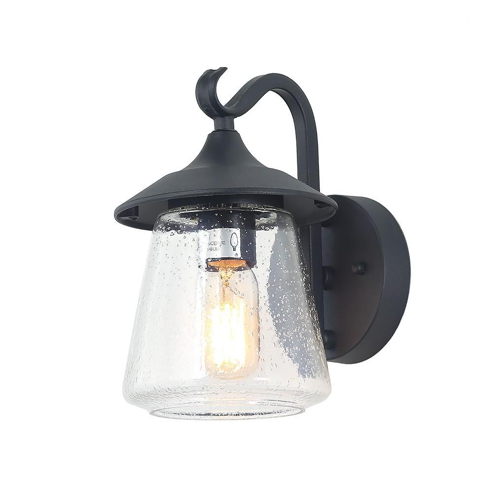 Lnc 1 Light Traditional Black Outdoor Wall Mount Coach Light Sconce With Seeded Glass Sconce Lighting Black Outdoor Wall Lights Outdoor Wall Lighting