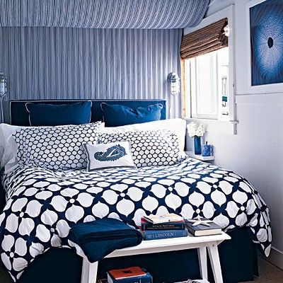 Headboard Wall With Stripes - Love the idea of stripe fabric behind