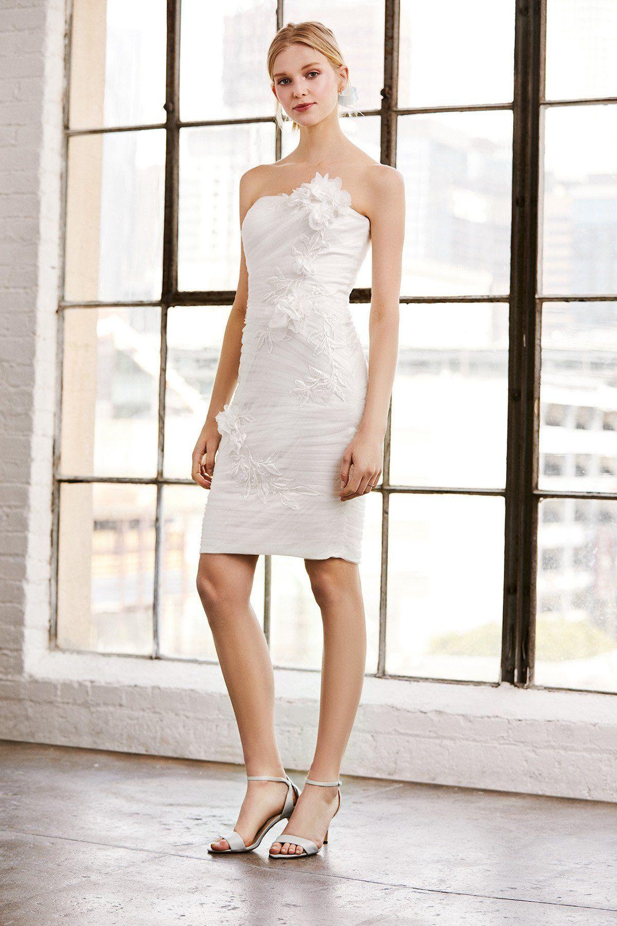 Tadashi shoji benton tulle applique strapless dress