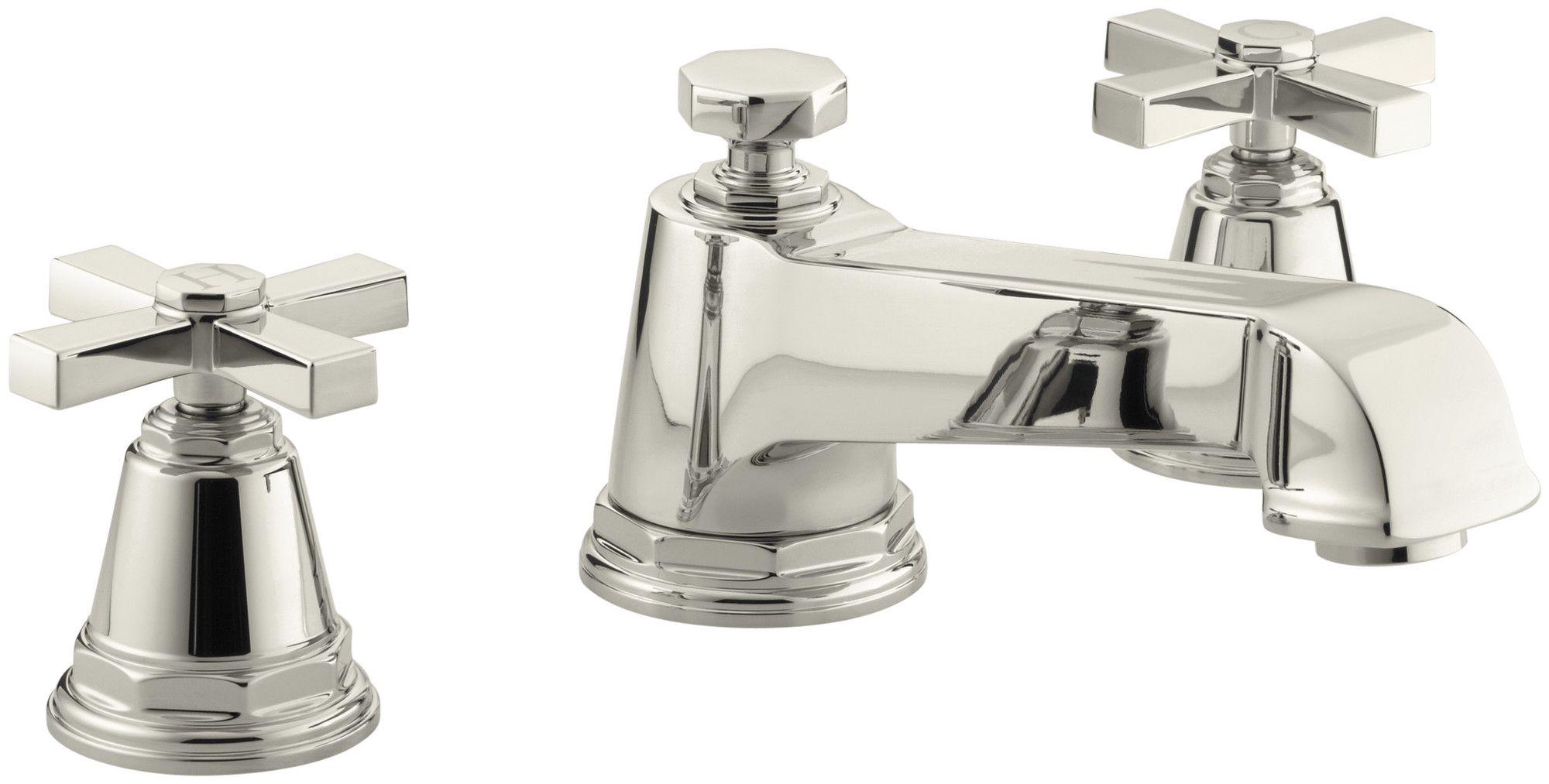 Pinstripe Pure Deck Mount Bath Faucet Trim For High Flow Valve With Cross Handles
