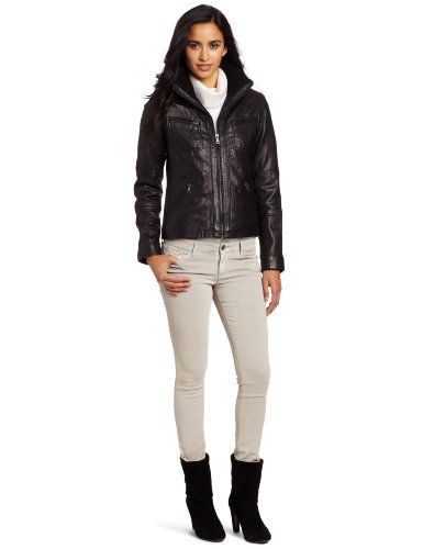 75ebe6481 Tommy Hilfiger Women's Knit Collar Leather Bomber Jacket $175.00 (50 ...