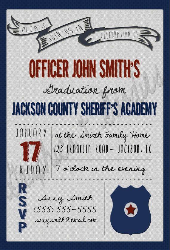 Police Academy Graduation Invitation W Thank You Note John S