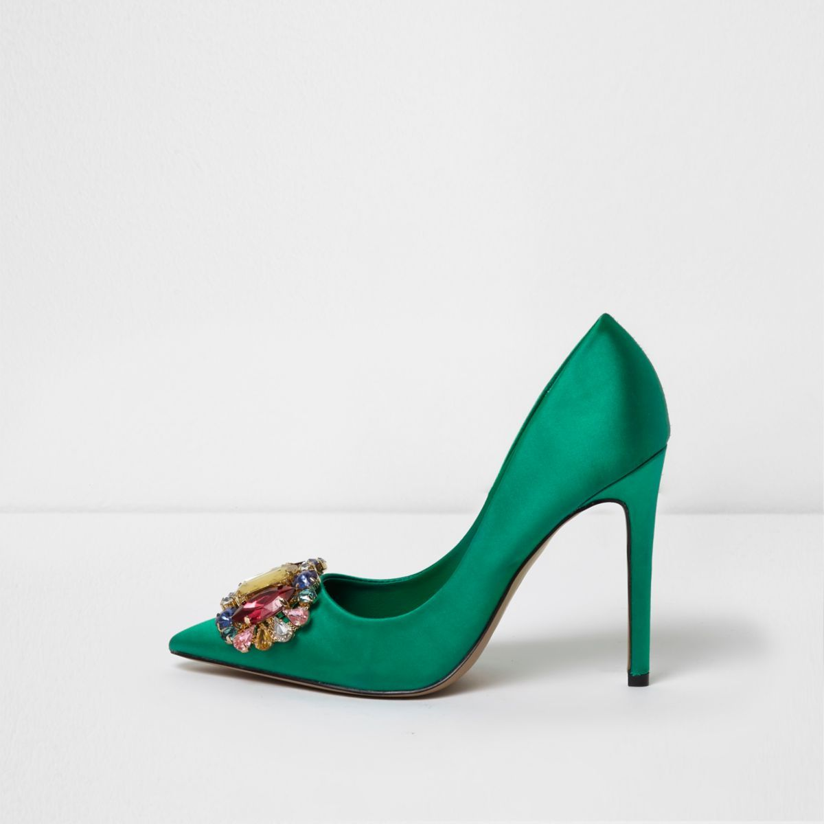 466f908ab9c07 Green satin jewel embellished court shoes - Shoes - Shoes & Boots - women