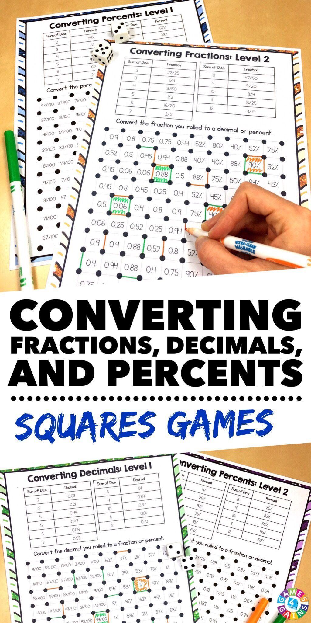 Converting Fractions Decimals And Percents Games 6 Rp 3