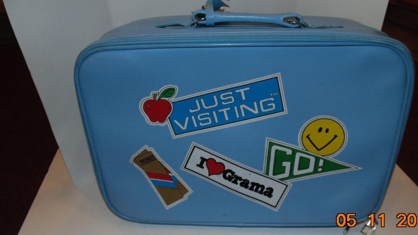 Vintage Child's Suitcase I love Grama Grandma Blue Luggage Hardcase vinyl travel - http://oleantravel.com/vintage-childs-suitcase-i-love-grama-grandma-blue-luggage-hardcase-vinyl-travel