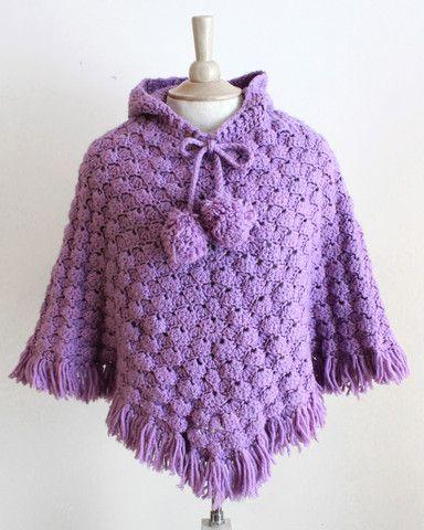 Puff Shell Poncho Crochet Pattern | Ponchos, Tejido y Ponchos tejidos